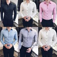 春秋新款男士长袖衬衫修身新郎伴郎结婚衬衣韩版潮流休闲寸衫