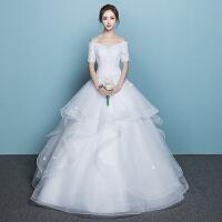 一字肩婚纱礼服2018新款新娘结婚韩版公主齐地大码显瘦2018蓬蓬裙 白色