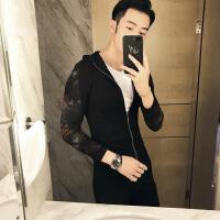 新款社会小伙小码紧身连帽夹克韩版修身时尚S码XS男外套