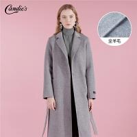 全羊毛毛呢外套女士2018冬季新款宽松外衣流行赫本中长款呢子大衣