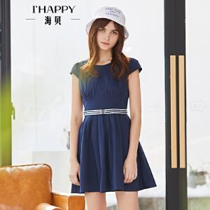 海贝2018夏装新款纯色短袖连衣裙小清新修身系带学生A字裙短裙