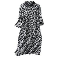 印花重磅真丝连衣裙女2018新款高端宽松大码桑蚕丝衬衫裙子