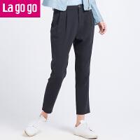 Lagogo2017春装新款宽松哈伦裤百搭休闲裤女裤子时尚九分裤