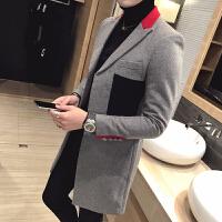 秋冬新款 时尚加厚 加棉保暖拼接修身中长款毛呢风衣 潮大衣外套