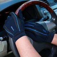 手套男女薄款开车驾驶透气防滑骑行登山触屏防晒户外健身运动手套 黑色 运动001