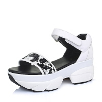 Belle/百丽夏牛皮亮片花纹运动厚底魔术贴女凉鞋09-03BL6