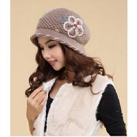 女士秋冬新款韩版圆顶加绒双层针织毛线帽子 花朵羊毛帽