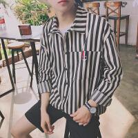 春季港风复古衬衫男宽松帅气长袖韩版学生衬衣潮