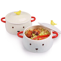 日式可爱方便面泡面碗带盖大号汤碗家用学生宿舍陶瓷餐具碗筷套装