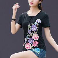 中国风女装夏装上衣 民族风绣花盘扣圆领短袖T恤女大码刺绣打底衫