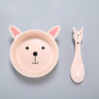 卡通儿童可爱陶瓷碗创意造型宝宝碗勺礼品套装婴儿米粉碗家用餐具B31