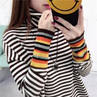 韩版新款秋冬打底堆堆高领针织衫彩虹长袖黑白条纹毛衣女宽松上衣