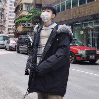 棉袄男冬装新款加厚大毛领棉服韩版学生潮流中长款棉衣男外套