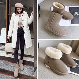 ZHR2017冬季新款【真皮雪地靴】女加绒中筒靴平底棉鞋学生厚底女靴子
