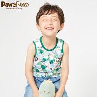 【520儿童节 2件4折  到手价:103】PawinPaw卡通小熊童装新款夏男童T恤圆领恐龙印花儿童背心