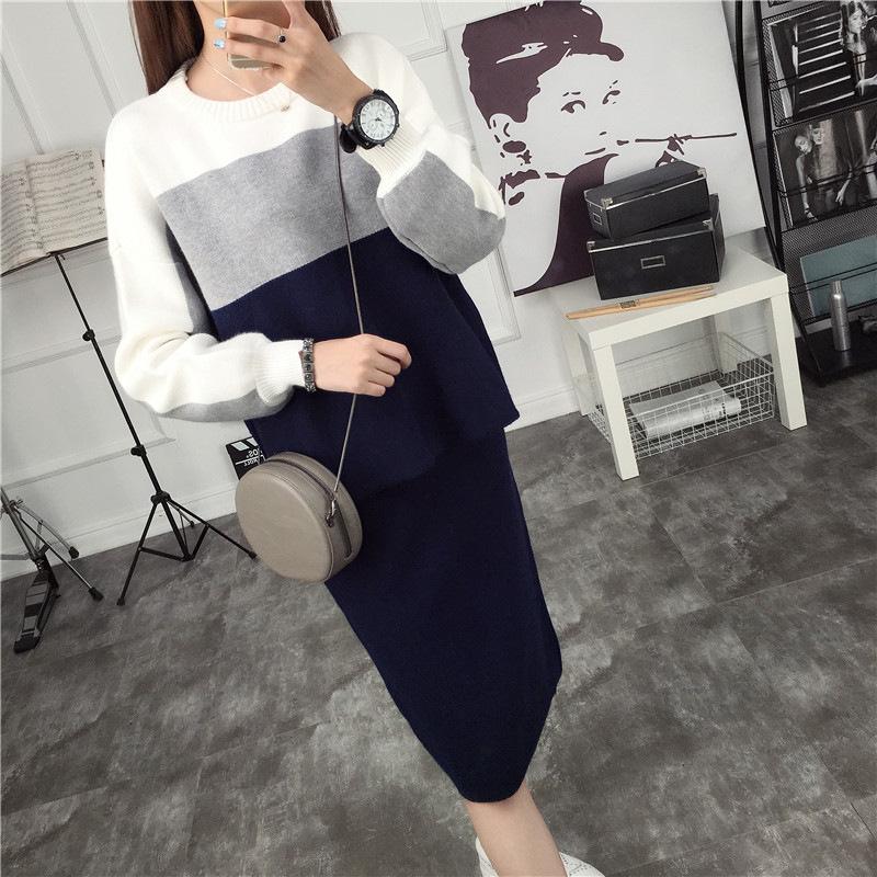 秋装女2018新款套装时尚针织衫毛衣裙子两件套韩版宽松外套长袖 发货周期:一般在付款后2-90天左右发货,具体发货时间请以与客服协商的时间为准