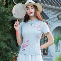 夏季新款中国风中式文艺复古改良绣花旗袍棉麻短袖T恤女上衣