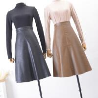 FSA02秋冬季韩版新品高腰纯色侧拉链气质PU皮半身裙