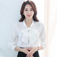雪纺衫女长袖2018春装新款韩版蝴蝶结衬衫百搭小衫女士打底衫上衣