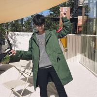 新款2018秋季男士风衣中长款外套韩版潮流连帽青年男神