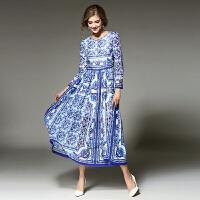 欧美2018春季女装新款 复古青花瓷修身气质连衣裙优雅印花长裙