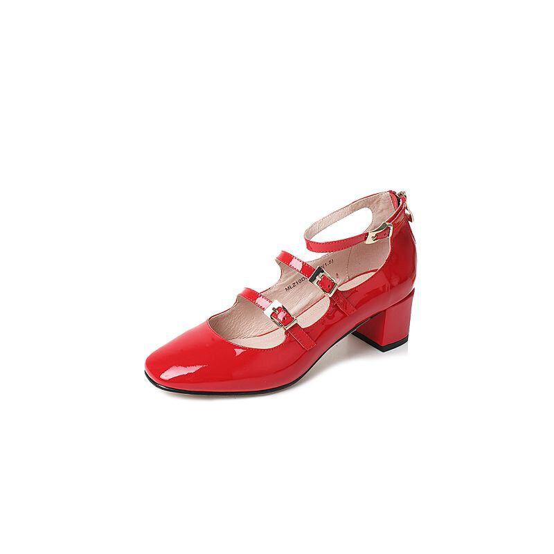 Tata/他她2017年夏季漆牛皮复古一字扣带女玛丽珍鞋MLZ10BQ7