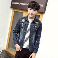 新款2018春季韩版男士破洞牛仔外套修身青少年学生大码夹克上衣潮