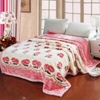拉舍尔斑马纹毛毯加厚双层冬季结婚庆双人羊毛毯床上单人学生盖毯