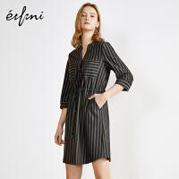 伊芙丽连衣裙夏装新款韩版法式复古裙过膝气质中长款衬衫裙女
