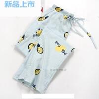 日系女士春夏季睡裤棉薄款针织棉大码家居裤全棉宽松直筒女长裤