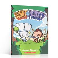 英文原版 Bunny vs. Monkey 1 兔子大战猴子 猴子霸占森林称王故事绘本 全彩漫画 爆笑兔子大战猴子的故