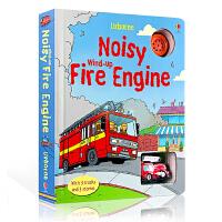 英文原版轨道消防车 Usborne Noisy Wind-Up Fire Engine 发声发条玩具纸板书 儿童认知趣