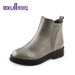 依思q冬季新款厚底粗跟中跟短靴侧拉链女靴