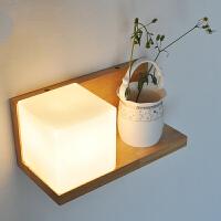 幽咸家居 创意木灯 木艺楼梯 玄关过道灯 卧室床头灯 玻璃实木壁灯YX-LMD-0125