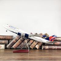 带声控LED灯达美航空波音747-400仿真飞机模型客机礼品摆件品质定制新品