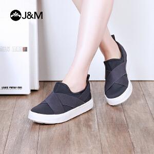 【低价秒杀】jm快乐玛丽春季新款纯色平底套脚休闲舒适学生鞋女鞋子