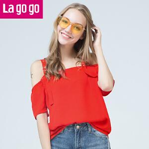 Lagogo/拉谷谷2017夏季新款直筒纯色短袖雪纺衫漏肩小清新T恤女