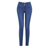 女裤春季新款韩版修身显瘦高腰牛仔女紧身小脚裤铅笔裤