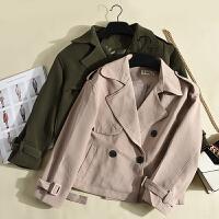 韩版冬季新款女装秋冬短款时尚百搭休闲双排扣通勤外套 KY603
