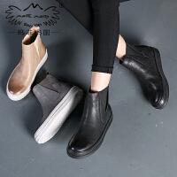 玛菲玛图秋冬平底短靴加绒保暖马丁靴女英伦风切尔西靴女士套筒靴362-10L秋季新品