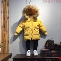 儿童冬装男童棉衣2018新款中长款宝宝棉袄女童羽绒外套小童潮