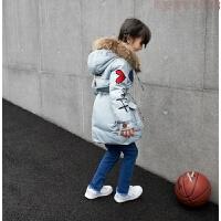 韩版女童冬装男童中长款加厚羽绒服外套刺锈毛领冲锋衣 蓝灰色 006(防水面料)