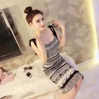 复古吊带裙潮 夏季新品端庄大气时髦图腾气质显瘦连衣裙包臀短裙