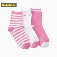巴拉巴拉童装女童短袜儿童春装2018新款女孩袜子纯棉中筒袜三双装