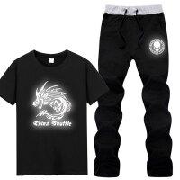 中学生夜光鬼步舞T恤曳步舞嘻哈街舞表演衣服荧光发光男短袖套装