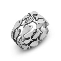 饰品设计复古游动鱼群戒指手工可爱时尚轻奢礼物足银
