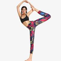瑜伽裤女七分3D印花高腰弹力紧身裤速干运动健身裤显瘦春