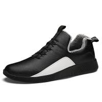 冬季休闲男鞋加绒保暖懒人皮鞋青少年冬鞋韩版潮流男士豆豆潮棉鞋