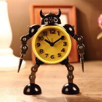 儿童闹钟 变形机器人创意生日礼物学生可爱卡通台钟座钟金属闹表送男孩送儿童SN5032