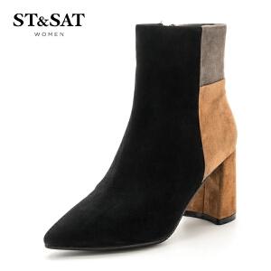 星期六(ST&SAT)冬季专柜同款绒面羊皮革粗跟时尚拼色短靴SS74116568
